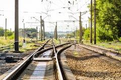 一把大空的铁路叉子 免版税库存照片
