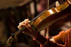 一把小提琴的片段在音乐家的手上 库存图片