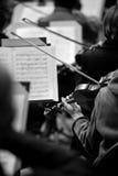 一把小提琴的片段在一位音乐家的手上交响乐团的 库存照片