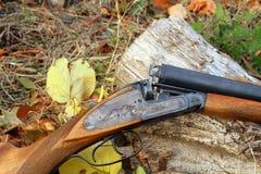 一把木减速火箭的猎枪在秋天 免版税图库摄影