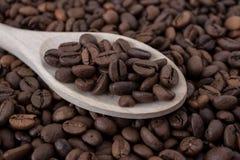 一把木匙子用咖啡豆 免版税库存照片