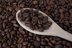 一把木匙子用咖啡豆 免版税图库摄影