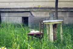 一把椅子和一张桌在草 免版税库存照片