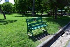 一把椅子在绿色庭院里 免版税库存图片