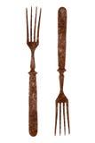 一把老生锈的叉子的双方 免版税图库摄影