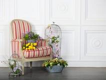 一把经典扶手椅子对一个空白墙壁和楼层 库存照片