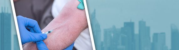 一支导尿管的射入在胳膊的 全景的横幅 库存照片
