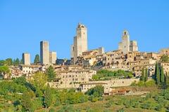 一晴朗的9月天在圣吉米尼亚诺 意大利托斯卡纳 免版税库存照片