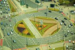 一更大的环形交通枢纽在华沙 免版税图库摄影