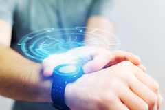 一未来派技术轮子出去的概念smartwatch 免版税库存照片