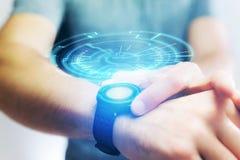 一未来派技术轮子出去的概念smartwatch 库存图片