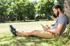 读一本书的行家在公园 库存照片