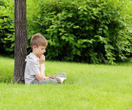 读一本书的逗人喜爱的白肤金发的男孩在公园 库存图片