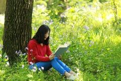 一本亚洲中国自由妇女阅读书的画象在春天秋天公园在森林由一棵大树坐 库存图片