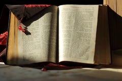 一本大旧书说出在捷克语语言写的Bible名字 免版税库存图片