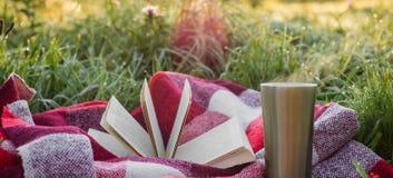 一本开放书在庭院里,书,一个热水瓶用茶,在一个热杯子的蒸汽 一揽子温暖 打开在自然的书 书 免版税库存照片