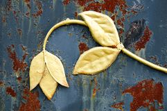 一朵伪造的金属花的片段在生锈的铁背景的 库存照片