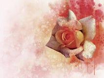 一朵充满活力的桃红色玫瑰色花的水彩图画 多汁植物的板材-离开仙人掌、仙人掌和柱仙人掌仙人掌 一个贺卡或婚姻的邀请的装饰元素 库存例证