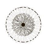 一朵圆的坛场花的黑白例证 皇族释放例证