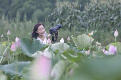 一朵女性摄影师和莲花 免版税库存照片