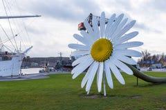 一朵巨型雏菊在Foru前面的Jani Rattya和安蒂Stockell 免版税库存图片