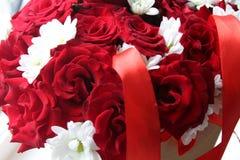 一朵玫瑰的美丽的花在箱子的 免版税库存图片