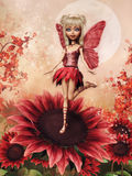 一朵红色花的神仙的女孩 皇族释放例证