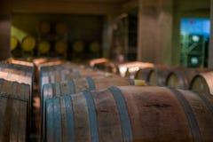 一杂货店的黑暗的葡萄酒库在Mendoza,阿根廷 免版税库存照片