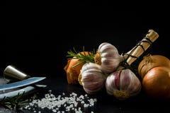一束大蒜、一棵葱、盐和香料在黑板岩 免版税库存照片