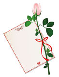 一束白花与红色弓和丝带和与空的空白 免版税库存图片