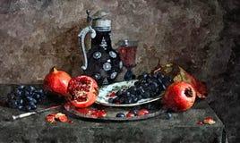 一束黑暗的葡萄、成熟手榴弹和一杯年轻酒 静物画 在纸的绘的湿水彩 天真艺术 库存图片