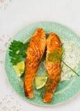 一条三文鱼的油煎的内圆角用调味汁 免版税库存照片
