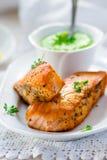 一条三文鱼的油煎的内圆角用绿豆调味 库存照片