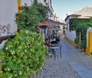 一条五颜六色的街道在Obidos,葡萄牙中世纪镇  免版税库存图片