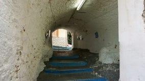 一条五颜六色的街道在Parga,希腊 库存照片