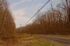 一条农村乡下公路通过冬天森林 免版税库存照片