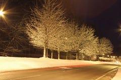 一条冬天路在晚上 免版税图库摄影