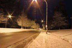 一条冬天路在晚上 库存照片
