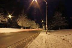 一条冬天路在晚上 免版税库存图片