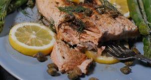 一条可口烤有机三文鱼用雀跃和莳萝 库存照片