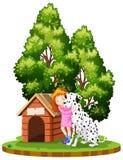 一条可爱的女孩和狗 库存例证