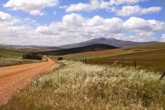 一条土路在农村夸祖鲁纳塔尔米德兰平原,南非 免版税库存图片