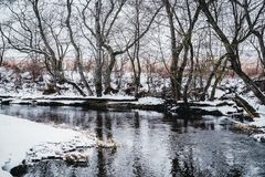 一条多雪的冬天河的风景 库存图片