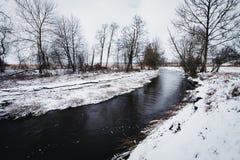 一条多雪的冬天河的风景 免版税库存图片