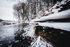 一条多雪的冬天河的风景 免版税库存照片