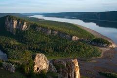 一条大河的顶视图 免版税库存图片