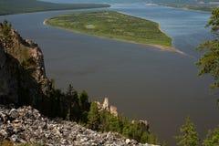 一条大河的顶视图 库存照片