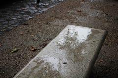 一条大理石长凳的有角度的射击,在与一些干燥叶子的梵蒂冈罗马,在地板上 库存照片
