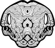 一条大蟒蛇的头与样式的 线艺术 向量例证