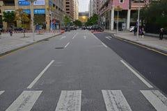 一条大路的斑马线在澳门,中国 免版税库存图片